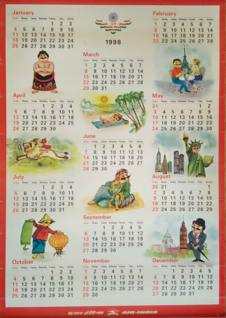 Ai Calendar 1998 Air India Collector